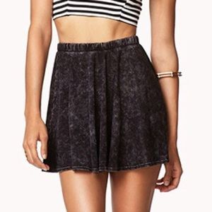 Forever 21 black acid wash skater skirt
